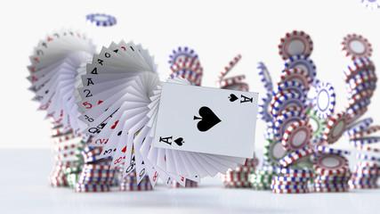 3d render Poker cards falling