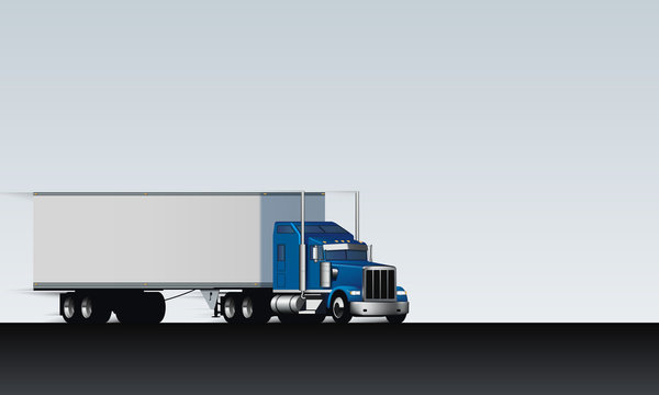 Truck rides on the abstract highway. Classic big rig semi truck with dry van on white clear background, vector illustration