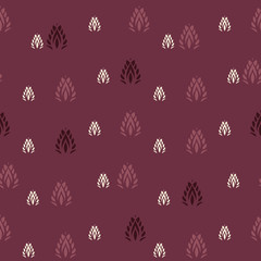 Vector Indian Leaf Shapes on vine red seamless pattern background. Perfect for fabric, scrapbooking and wallpaper projects.