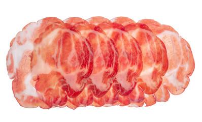 sliced parma ham like background, close up