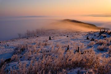 Fototapeta rock in in the rays of the setting sun on the island of Olkhon, lake Baikal