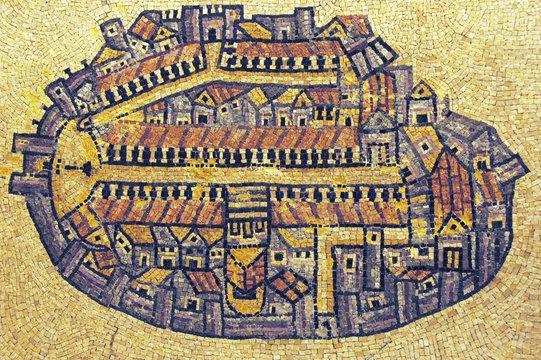 Byzantine mosaic map of the old city Jerusalem