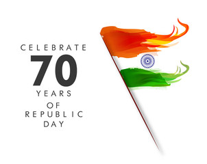 Illustration of Happy Indian Republic day poster or banner background concept with text 26 January.