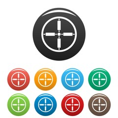 Sniper target icons set 9 color vector isolated on white for any design