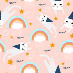 Fashionable seamless pattern with funny kitty and rainbow. For printing on children's clothes. Hand-drawn.