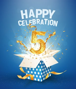 5 th years anniversary and open gift box with explosions confetti. Template five birthday celebration on blue background vector Illustration