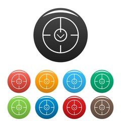 Digital gun aim icons set 9 color vector isolated on white for any design