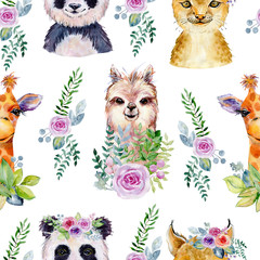 Animals. Watercolor illustration. Seamless pattern on white background.