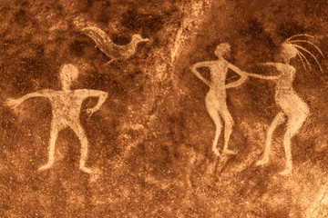 image of ancient people on the cave wall. archaeology, ancient history.