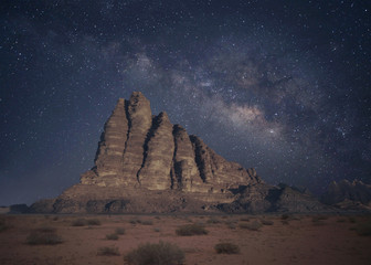 Starry night in Wadi Rum desert, Jordan.