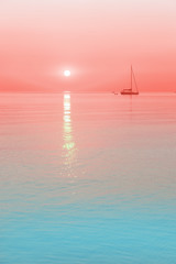 sun and a sailing boat in living coral color sunrise with blue waters, color of the year 2019. Travel and vacation destination concept