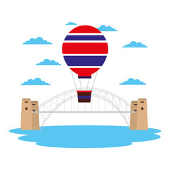 australia harbor bridge hot air balloon landmark