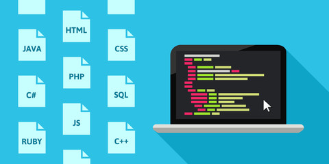 Programming languages concept with laptop and code in flat design