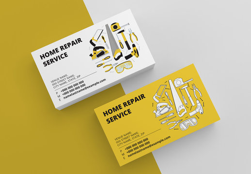 Home Repair Business Card Layout in Two Colors