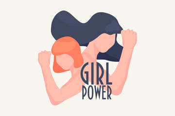 Women Rights Vector Illustration: Girl power concept.