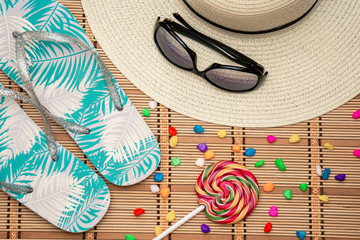 summer accessories for beach and recreation on the beach and ocean