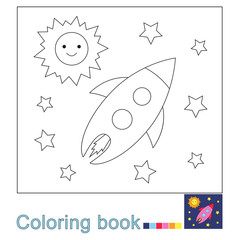 illustration of the Sun, stars and flying rocket in the space for coloring book. Simple educational game for kids