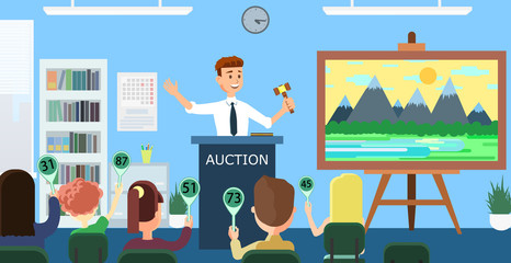 Auction and Bidding. Vector Flat Illustration.