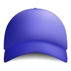 Blue baseball cap icon. Realistic illustration of blue baseball cap vector icon for web design isolated on white background