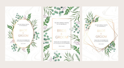 Wedding floral invitation, thank you modern card: rosemary, eucalyptus branches on white marble texture with a golden geometric pattern. Elegant rustic template. All elements are isolated and editable