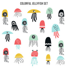 Big set of colorfull jellyfish cut out of paper. Vector illustration