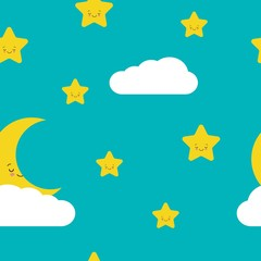 Night sky seamless pattern in vector. Cute stars. moon and cloud with smiling faces