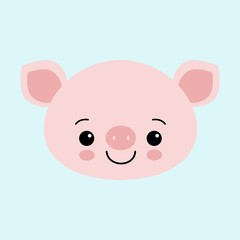 Cute pink pig. Happy New Year. Chinese symbol of the 2019 year. Excellent festive gift card.