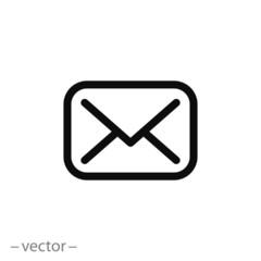 email icon, envelope line sign on white background - editable vector illustration eps10