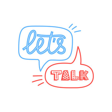 Doodle illustration of colorful dialog speech bubbles with icons and text lets talk on white background. Safety communication technology concept. Thin line art flat design of mobile technology