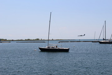 Boat and Plane on the water