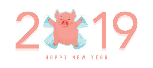 Cute winter pig make snow angel isolated on white. Happy New Year of 2019, year of a pig. Vector illustration. Excellent for the design of postcard, poster, sticker, banner and so on.