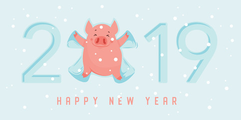 Cute winter pig make snow angel. Happy New Year of 2019, year of a pig. Vector illustration. Excellent for the design of postcard, poster, sticker, banner and so on.