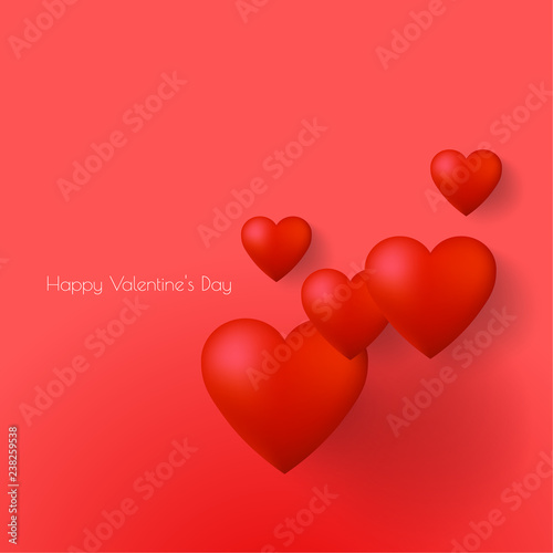Happy Valentine Day Greeting Card Design With 3d Hearts Vector