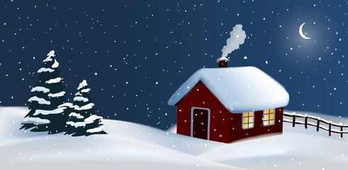 Festive vector night winter countryside background with a red cottage house, chimney smoke and christmas trees, merry christmas card with negative space.