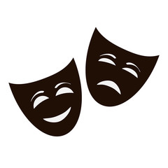 Theatrical comic masks. Vector art. Set of color masks on a black and white background.