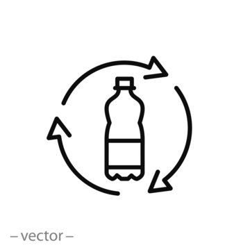 recycle plastic bottle icon, line sign on white background - editable vector illustration eps10