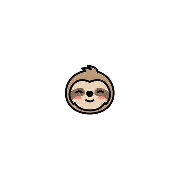 Cute sloth face cartoon icon, vector illustration