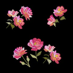 Embroidery rose flowers. Vector set of floral bouquets isolated on black background.