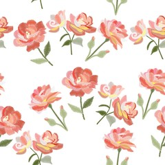 Vector embroidery with stylized flowers. Decorative floral seamless pattern on white background. Satin stitch.