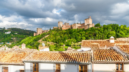 Wall Mural - Landscape with Alhambra palace, Granada, Andalusia, Spain