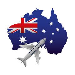 australian flag map flying airplane