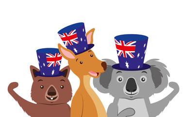 kangaroo koala and wombat with hat australian flag