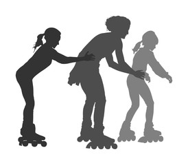 Roller skating girls with mother in park rollerblading vector silhouette isolated on white background. In-line skating happy family on roller skating. Mothers day with kids outdoor after work activity