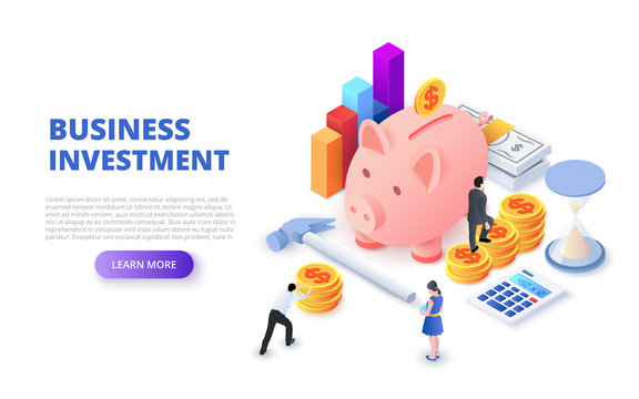 Business investment design concept with piggy bank, coins and people. Isometric vector illustration. Landing page template for web.