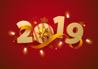 New Year greeting card 2019. 3D numbers with  gift, garland and gold ribbon.