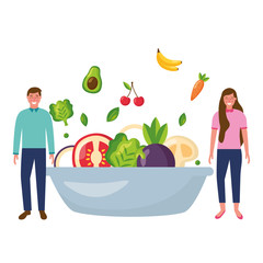 man and woman with bowl healthy food