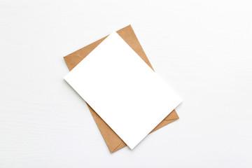 Fototapeta Hello winter. Blank white postcard postcard flyer on a grey background obraz