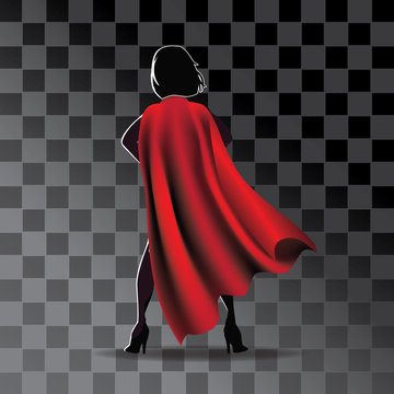 Cartoon super hero cape on woman's silhouette with transparent shadow. Eps10 vector illustration.