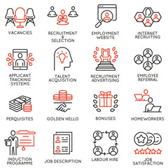 Vector set of linear icons related to human resource management, recruitment and employability. Mono line pictograms and infographics design elements - part 3