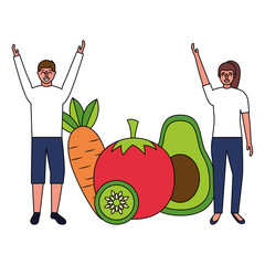 woman and man with vegetables healthy food
